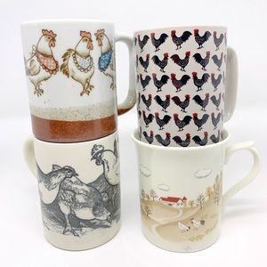 Mismatched Farmhouse Rooster Mugs Set of Four